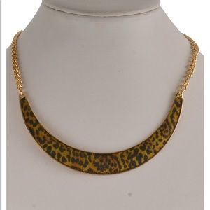 "Gold-tone Leopard-print Collar 22"" Necklace"